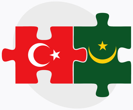 mauritania: Turkey and Mauritania Flags in puzzle isolated on white background Illustration