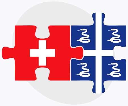 martinique: Switzerland and Martinique Flags in puzzle isolated on white background