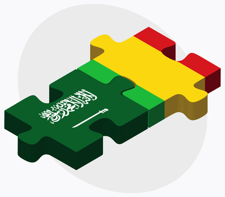 bamako: Saudi Arabia and Mali Flags in puzzle isolated on white background