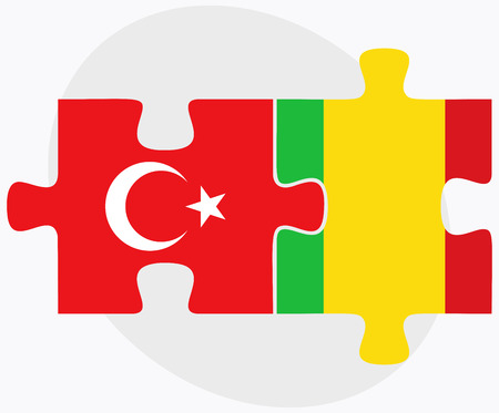 bamako: Turkey and Mali Flags in puzzle isolated on white background Illustration