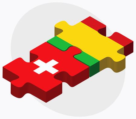 malibu: Switzerland and Mali Flags in puzzle isolated on white background