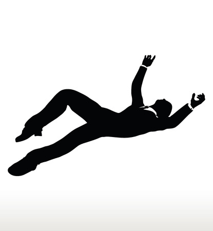 lowering: Vector illustration in silhouette of businessman falling