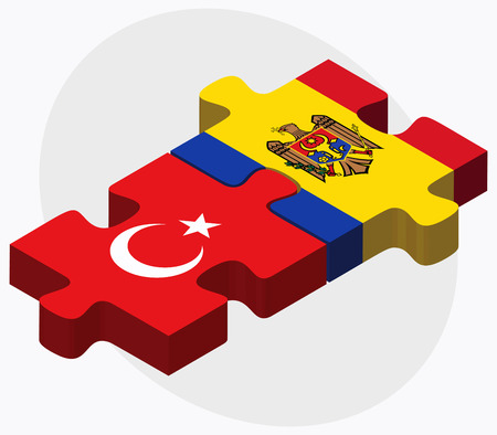 moldovan: Turkey and Moldova Flags in puzzle isolated on white background Illustration