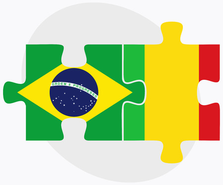 federative republic of brazil: Brazil and Mali Flags in puzzle isolated on white background