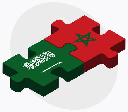 Arabia Saudita y Marruecos Banderas de rompecabezas aislados en fondo blanco