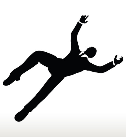 diminishing view: Vector illustration in silhouette of businessman falling