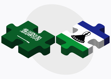 lesotho: Saudi Arabia and Lesotho Flags in puzzle isolated on white background Illustration