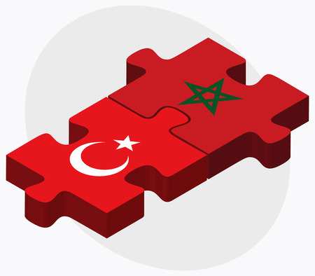 berber: Turkey and Morocco Flags in puzzle isolated on white background