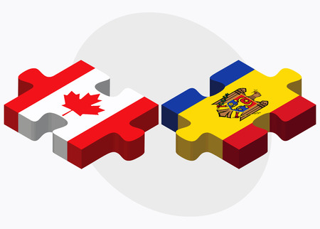 moldovan: Canada and Moldova Flags in puzzle isolated on white background