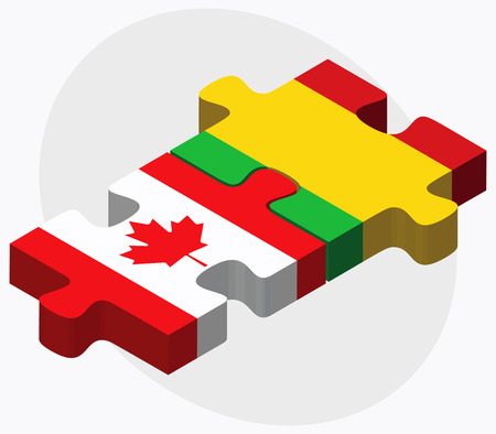 malibu: Canada and Mali Flags in puzzle isolated on white background