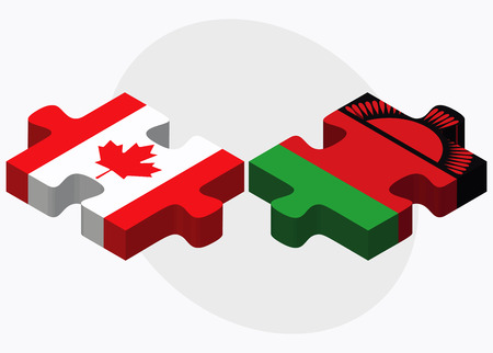 malawian: Canada and Malawi Flags in puzzle isolated on white background Illustration