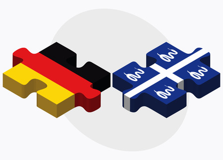 martinique: Germany and Martinique Flags in puzzle isolated on white background