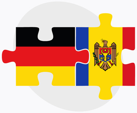 moldovan: Germany and Moldova Flags in puzzle isolated on white background Illustration