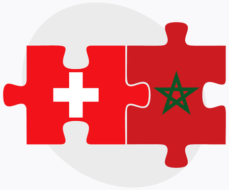 berber: Switzerland and Morocco Flags in puzzle isolated on white background Illustration