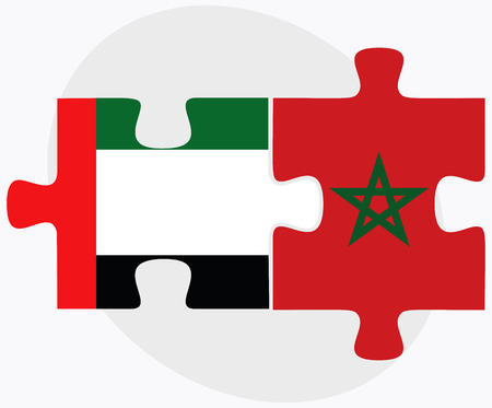berber: United Arab Emirates and Morocco Flags in puzzle isolated on white background