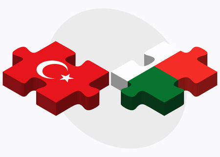 eurasian: Turkey and Madagascar Flags in puzzle isolated on white background Illustration