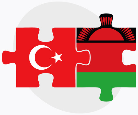 malawian: Turkey and Malawi Flags in puzzle isolated on white background