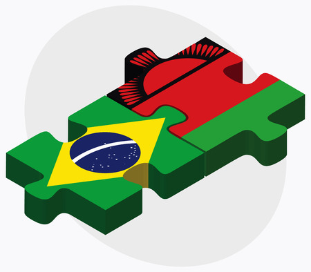 malawian flag: Brazil and Malawi Flags in puzzle isolated on white background