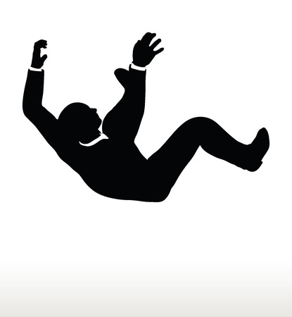 crumbling: Vector illustration in silhouette of businessman falling