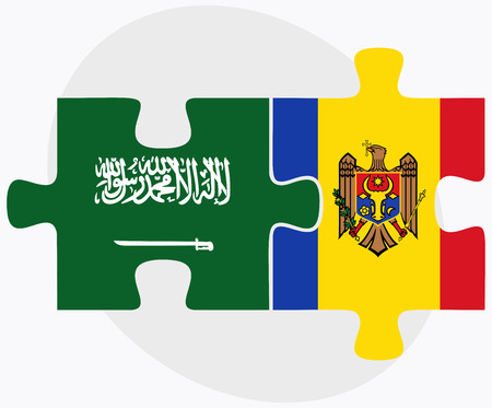 moldovan: Saudi Arabia and Moldova Flags in puzzle isolated on white background Illustration