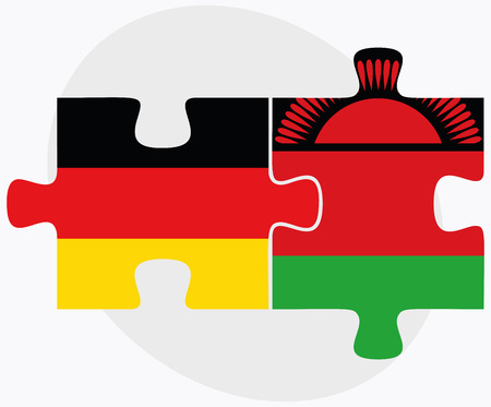 malawian: Germany and Malawi Flags in puzzle isolated on white background