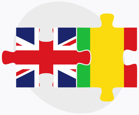bamako: United Kingdom and Mali Flags in puzzle isolated on white background