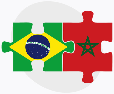 berber: Brazil and Morocco Flags in puzzle isolated on white background Illustration