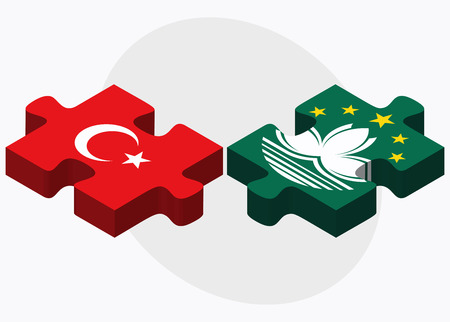 macau: Turkey and Macau Flags in puzzle isolated on white background Illustration