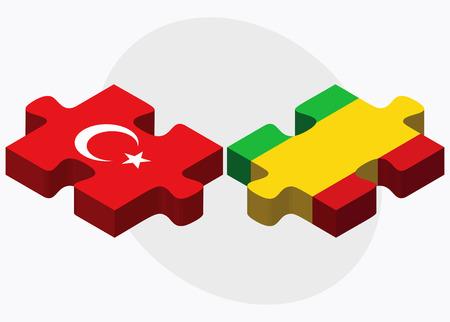 malibu: Turkey and Mali Flags in puzzle isolated on white background Illustration