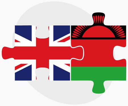 malawian flag: United Kingdom and Malawi Flags in puzzle isolated on white background