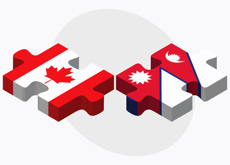 nepal: Canada and Nepal Flags in puzzle isolated on white background