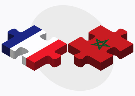 berber: France and Morocco Flags in puzzle isolated on white background
