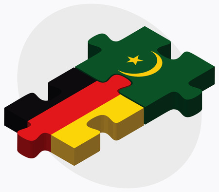 mauritania: Germany and Mauritania Flags in puzzle isolated on white background