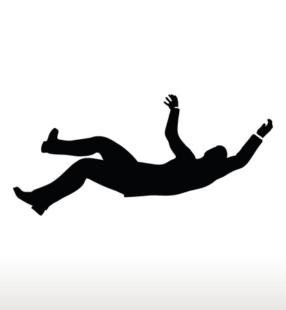 abating: Vector illustration in silhouette of businessman falling