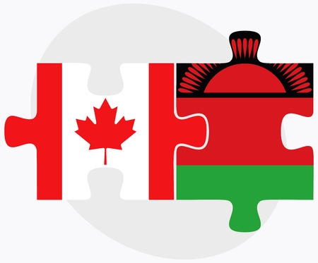 malawian flag: Canada and Malawi Flags in puzzle isolated on white background Illustration