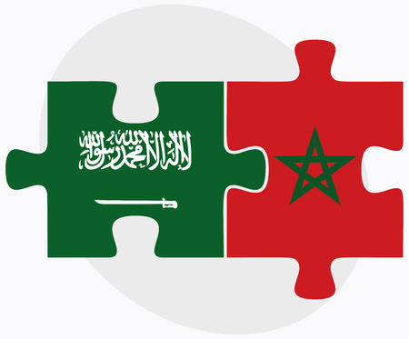berber: Saudi Arabia and Morocco Flags in puzzle isolated on white background Illustration