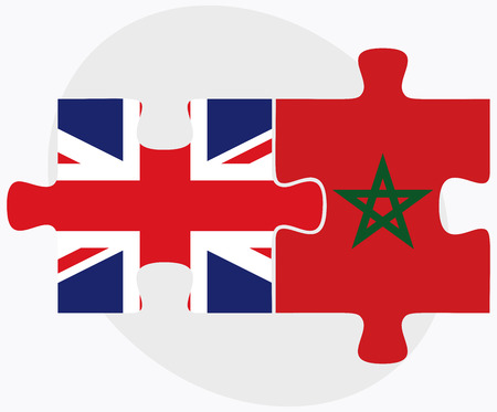 berber: United Kingdom and Morocco Flags in puzzle isolated on white background