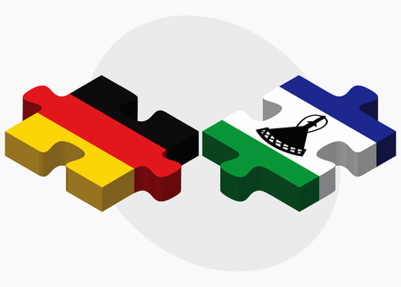 lesotho: Germany and Lesotho Flags in puzzle isolated on white background Illustration