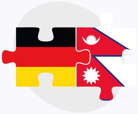 nepal: Germany and Nepal Flags in puzzle isolated on white background