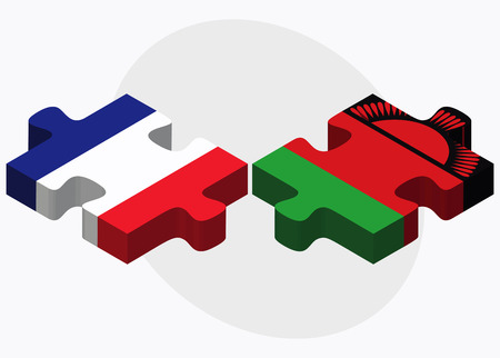 malawian flag: France and Malawi Flags in puzzle isolated on white background