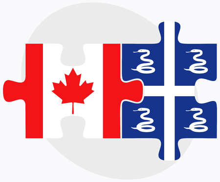 martinique: Canada and Martinique Flags in puzzle isolated on white background