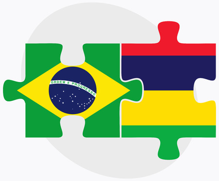 federative republic of brazil: Brazil and Mauritius Flags in puzzle isolated on white background