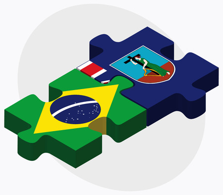 montserrat: Brazil and Montserrat Flags in puzzle isolated on white background