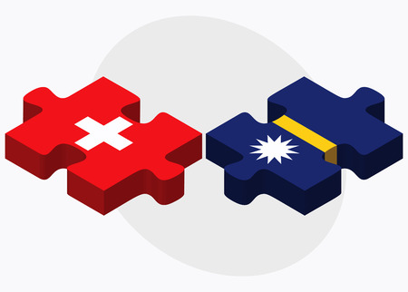 nauru: Switzerland and Nauru Flags in puzzle isolated on white background