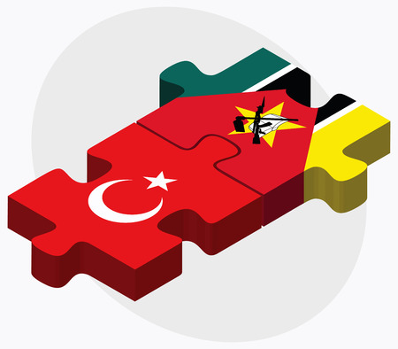 mozambique: Turkey and Mozambique Flags in puzzle isolated on white background