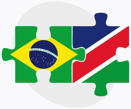 namibia: Brazil and Namibia Flags in puzzle isolated on white background