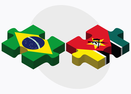 federative republic of brazil: Brazil and Mozambique Flags in puzzle isolated on white background