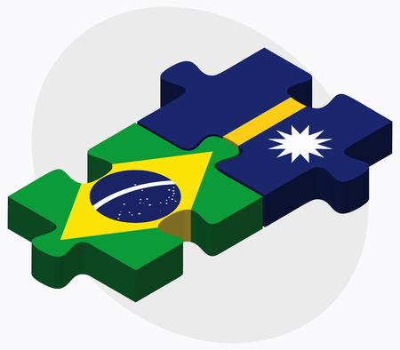 federative republic of brazil: Brazil and Nauru Flags in puzzle isolated on white background Illustration