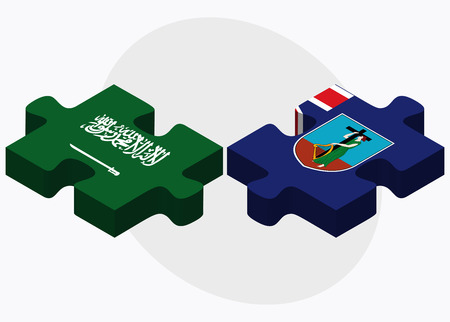 montserrat: Saudi Arabia and Montserrat Flags in puzzle isolated on white background