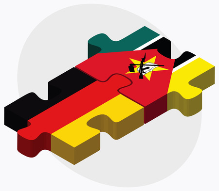 federal republic of germany: Germany and Mozambique Flags in puzzle isolated on white background